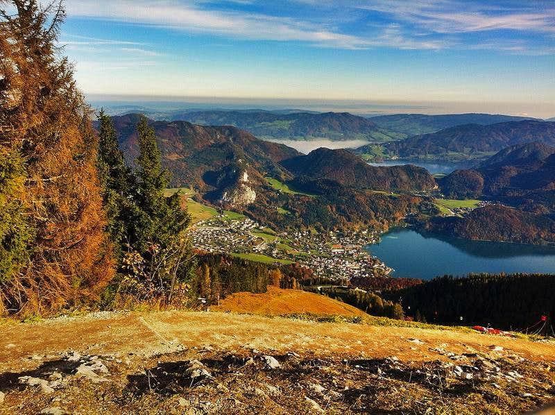 Autumn view from the summit of Zwölferhorn