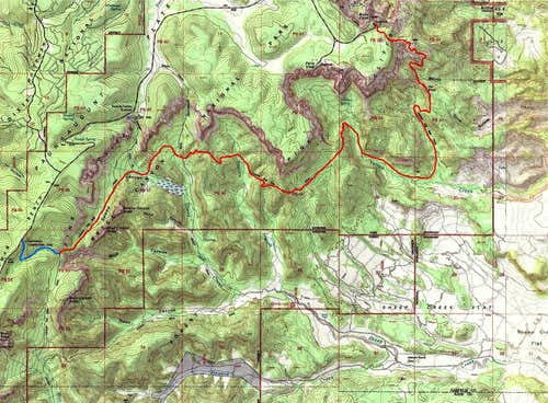 Detailed map of the northern section of Under The Rim Trail
