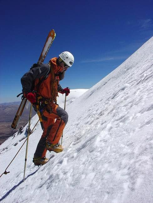 heading up the SW face