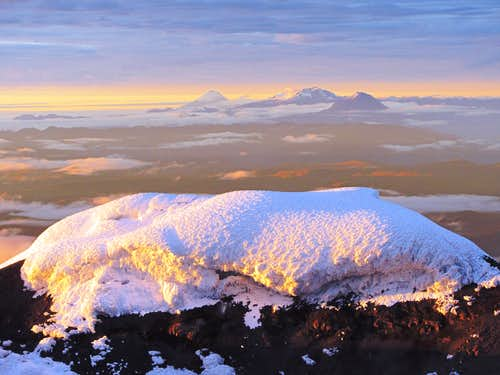 Sangay, El Altar, and Tungurahua from Cotopaxi's summit