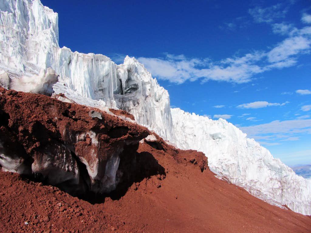 the edge of the glacier
