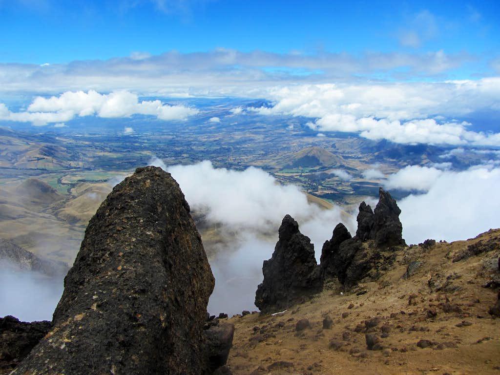 view from the ridge on Illinizas Norte