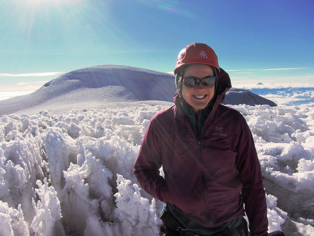 Me with the summit of Chimborazo in the background