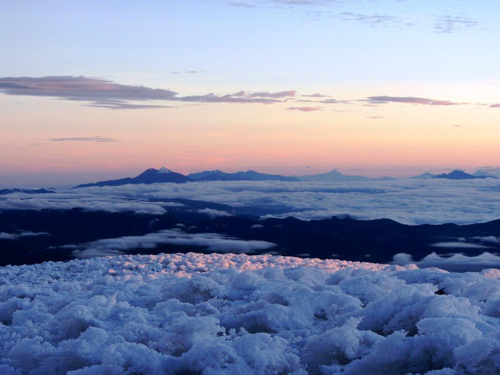 Sunrise from the Veintimilla Summit on Chimborazo