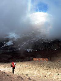 Jose heading up to the Whymper Refugio on Chimborazo
