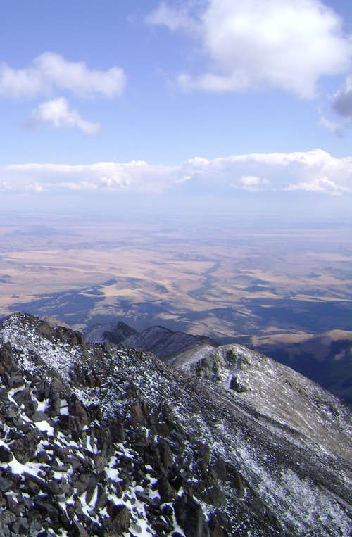 Looking down towards the plains from the summit of Crazy Peak