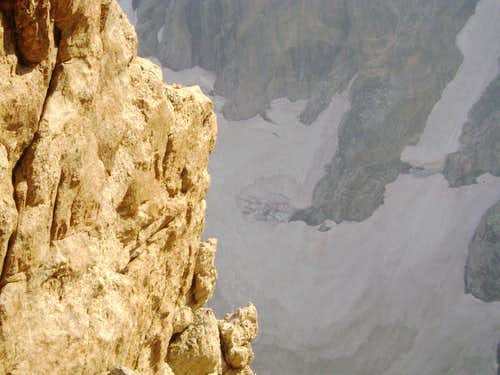 Don\'t look down!!!-Big exposure high on the Direct Petzoldt route of the Grand Teton