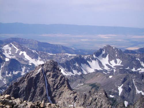 Thor Peak visible from the summit of Mount Moran