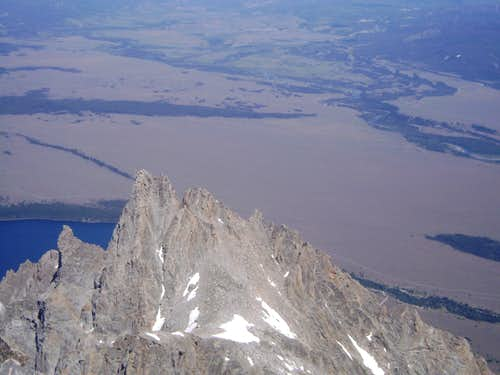 Teewinot viewed from the summit of the Grand Teton