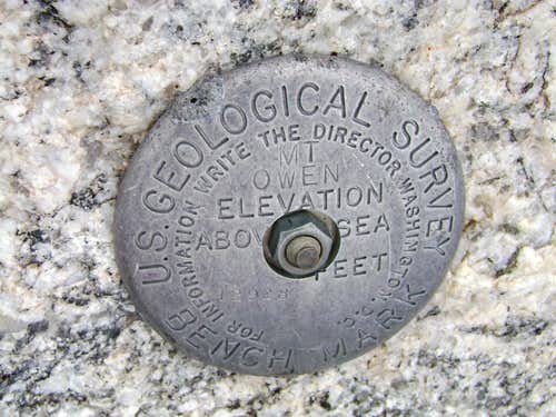 USGS Marker on top of Mount Owen