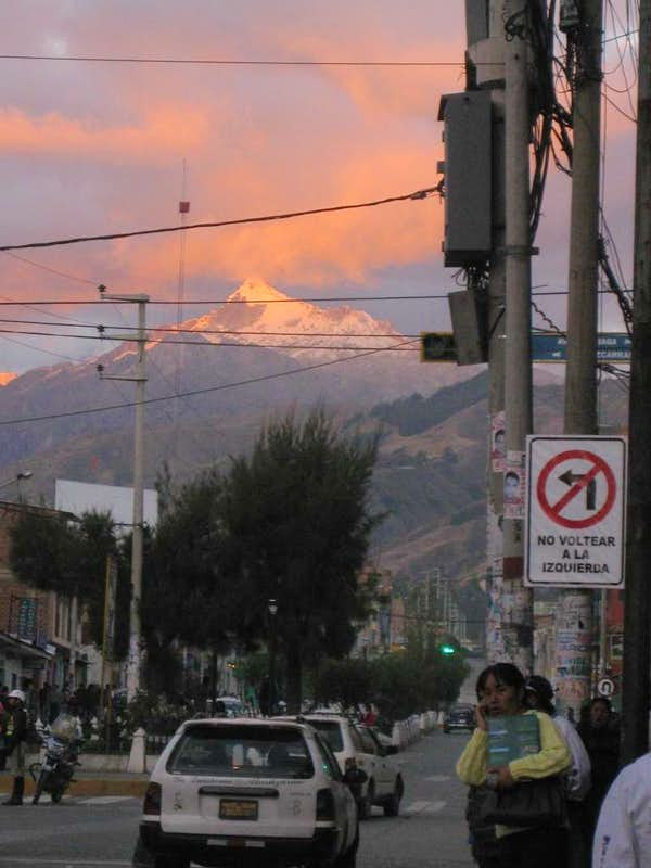 Alpenglow over the Cordillera Blanca from Huaraz