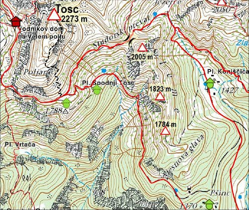 Tosc from Uskovnica - map
