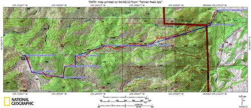 Tanner Peak Route Map