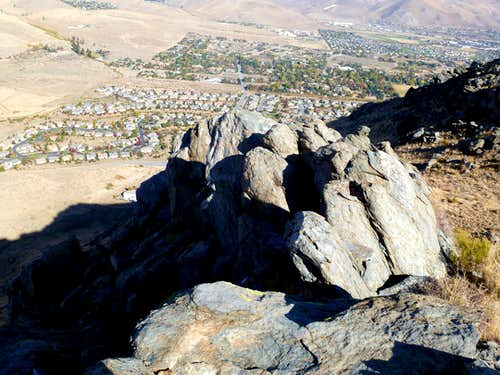 View down from the summit rock