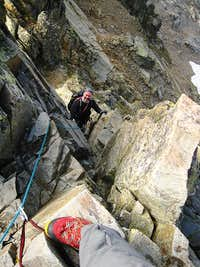 Looking down on Mark from above the crux