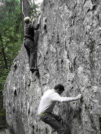 Bouldering on the Presidential Boulder