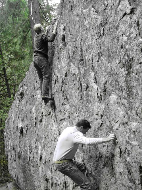 Bouldering on the Presidential Boulder