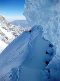 A dangerous traverse high on Chopicalqui