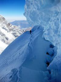 A dangerous traverse high on Chopicalqui