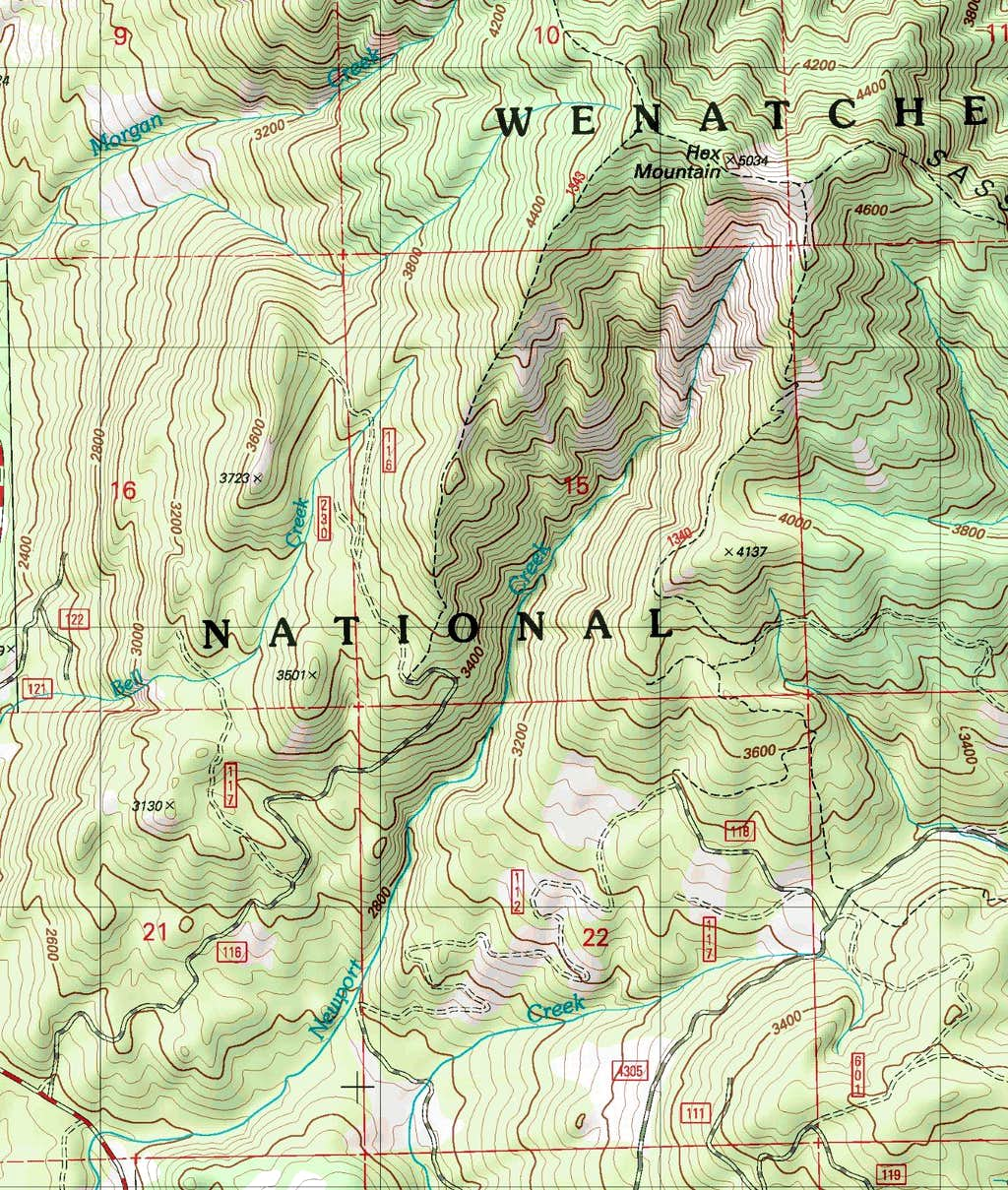 Hex Mountain Topographic Map
