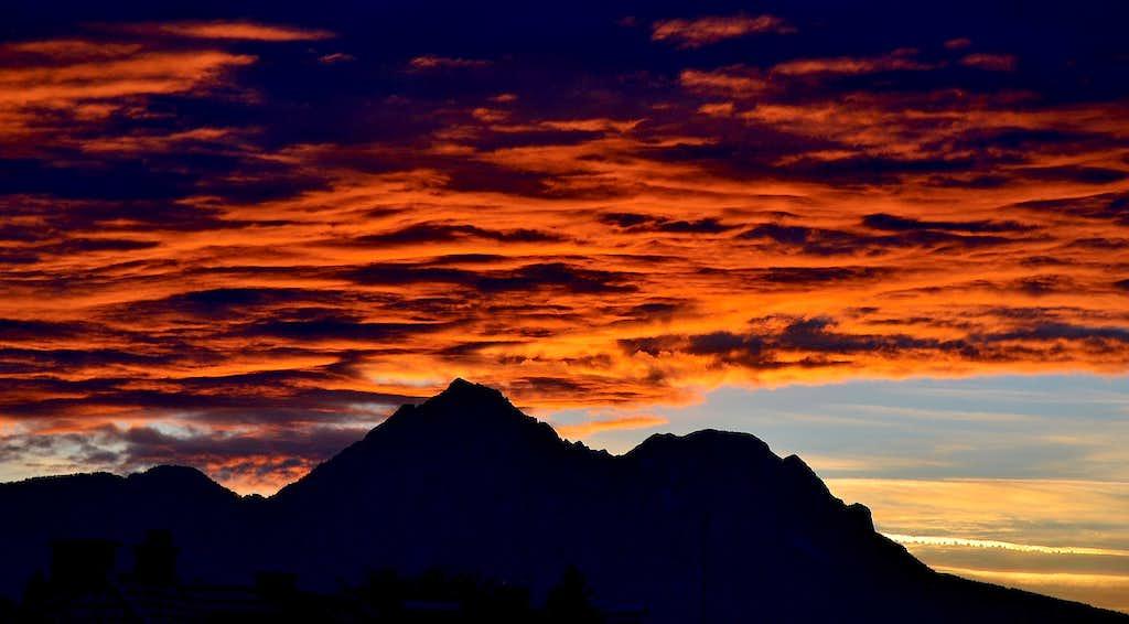 Spectacular sunset over Hochstaufen and Zwiesel