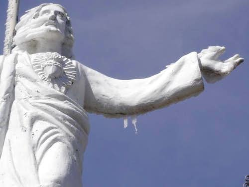 Iced Christ sculpture at the...