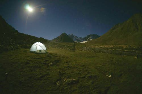 night view of moses peak base camp