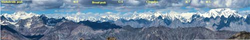 panoramic view  k2 brod peak G4 K7 k-6 chogolisa from muses peak Barah Broq pakistan