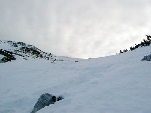 Just below the summit of...