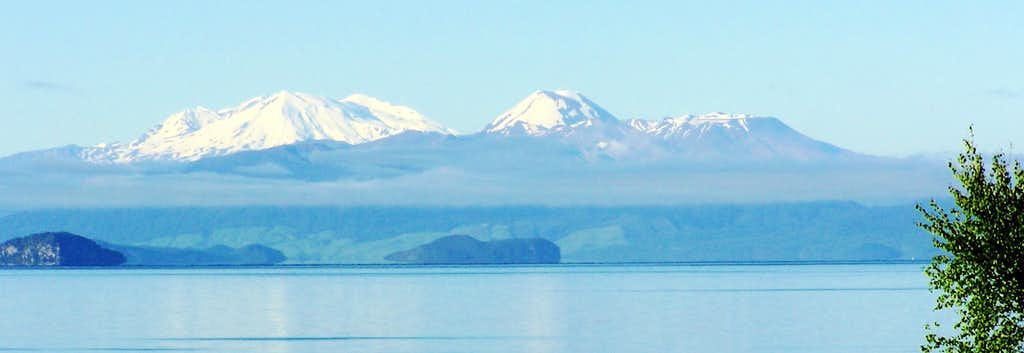 Mt. Ruapehu, Ngauruhoe and Tongariro from across Lake Taupo