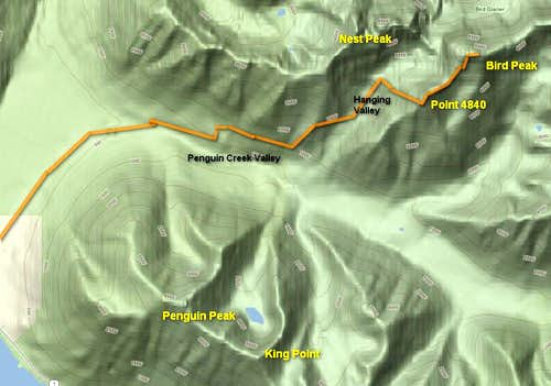 Bird Peak Route Map
