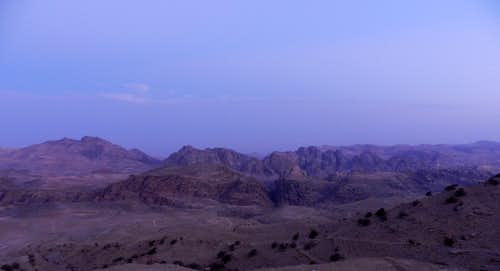 Petra mountains before sunrise