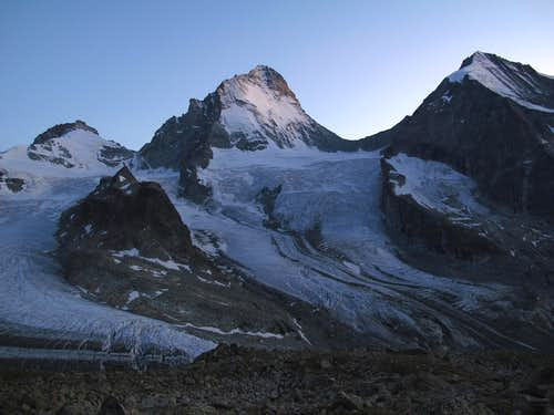 Pointe de Zinal, Dent Blanche and Grand Cornier in the last of the evening light