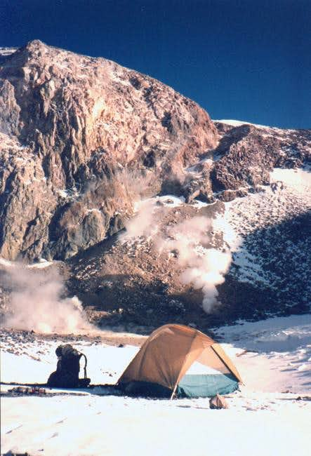 High camp by volcanic...