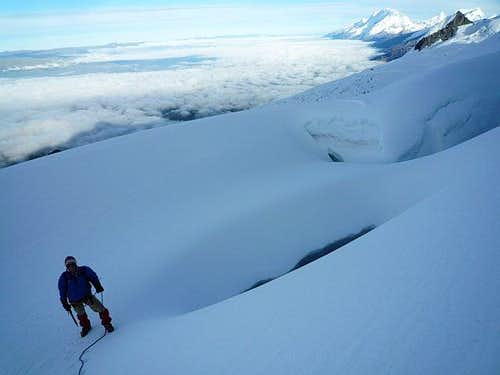 Me going over a crevasse
