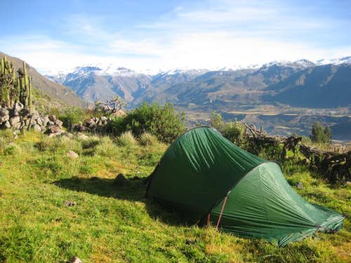 Camping in the fields above Maca