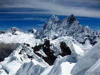 Chacraraju from the summit ridge of Yanapaccha