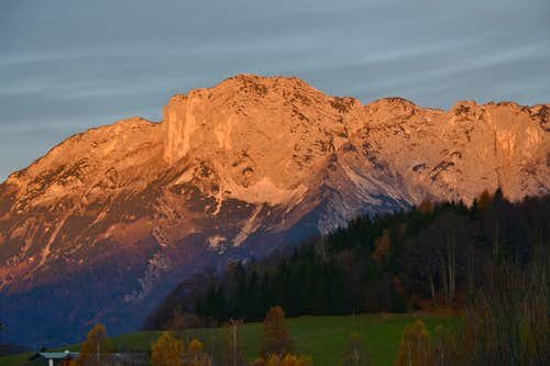 The east wall of the Untersberg in sunrise glow