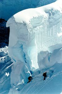 bookin it though the icefall on ascent of Mt. Waddington