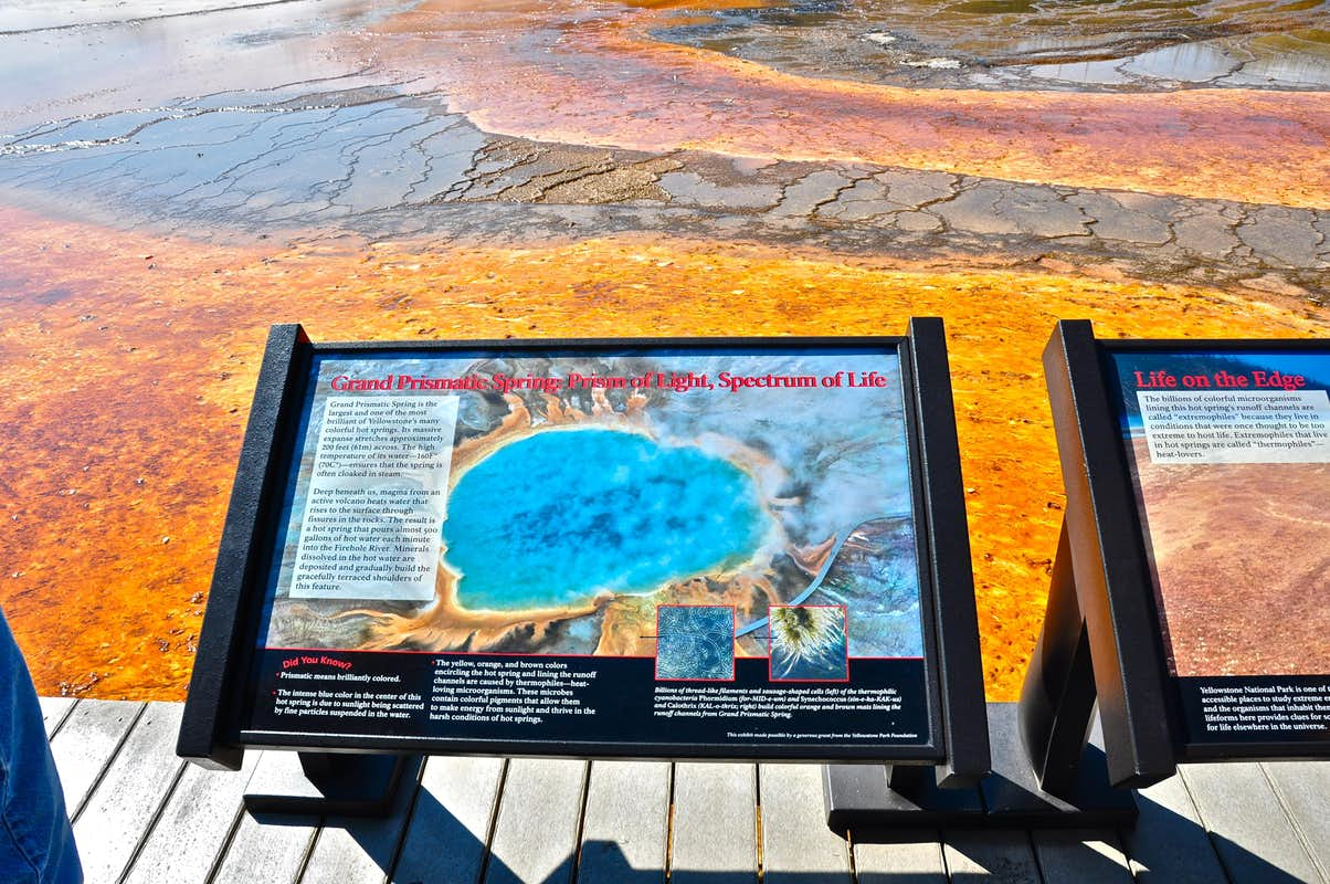 Grand Prismatic Spring Sign Photos Diagrams Amp Topos