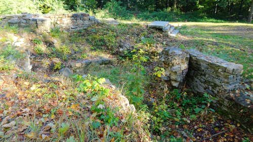 Ruins of the former medieval castle on top of Gromnik