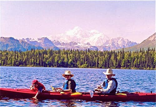 My family kayaking with Denali in the background