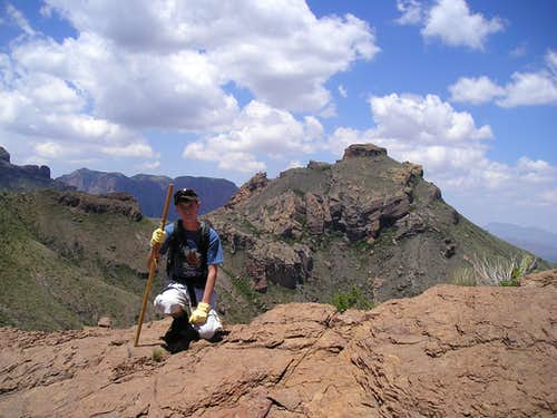 Myself on the summit of Wright Peak in the Chisos Mountains of Big Bend National Park, Texas