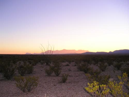View of the Chisos Mountains at sunset-Big Bend National Park, Texas