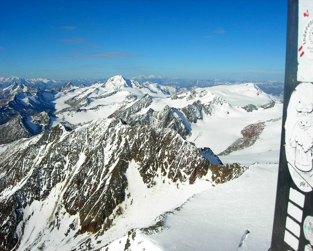 Weisskugel and Weißseespitze from Wildspitze