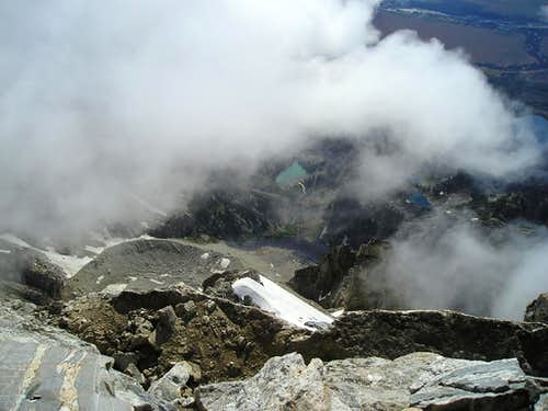 Looking down from the summit of the Grand Teton