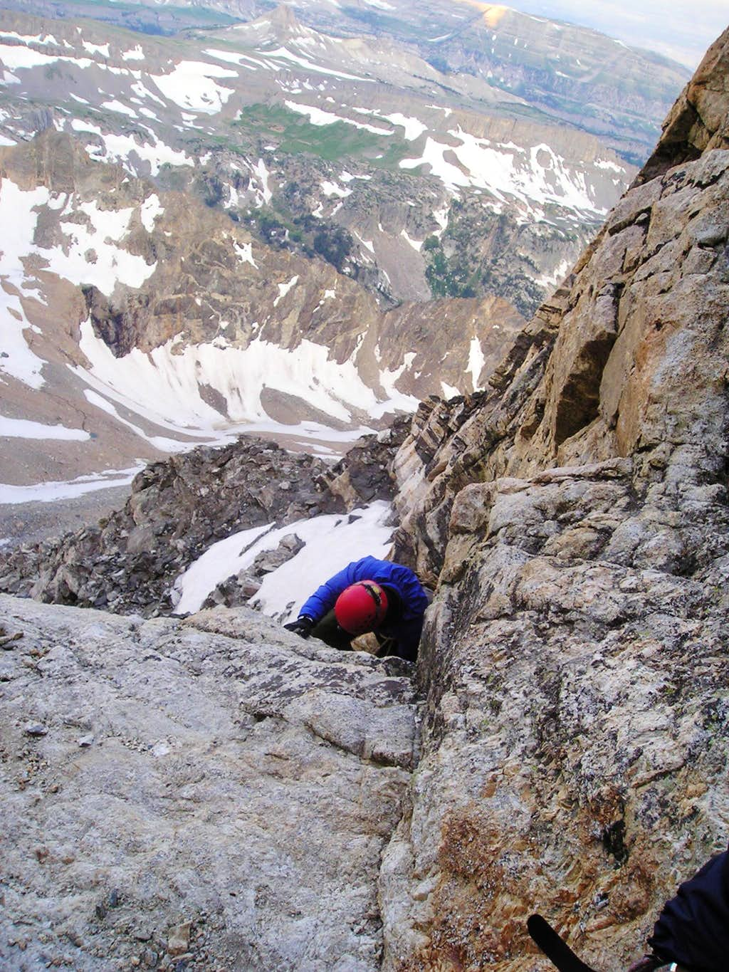 Forrest climbing his way up the Owen Spaulding route of the Grand Teton