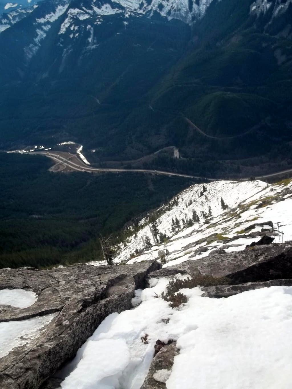 Looking down at the highway from the summit of P3
