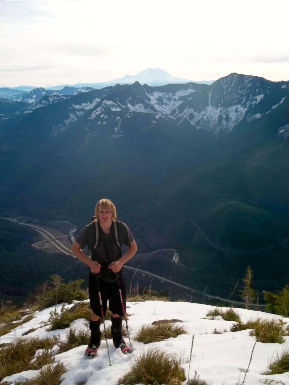 Matt on the ridge heading down