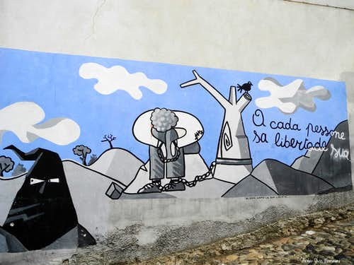 "One of the typical ""murales"" in Oliena"